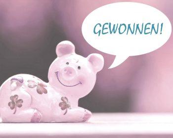 Glücksschwein mit Sprechblasegewonnen