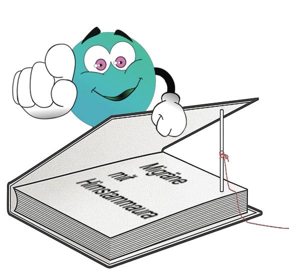 Smiley mit Fingezeig auf Dich und Buch